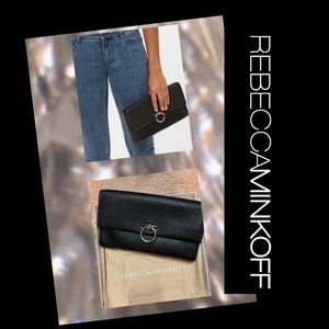 NWT Rebecca Minkoff black Jean Leather Clutch